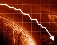 Gráfico de la flecha que va abajo Imagen de archivo libre de regalías