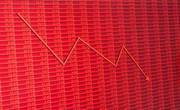 Gráfico de la flecha que va abajo y números comunes electrónicos Foto de archivo libre de regalías