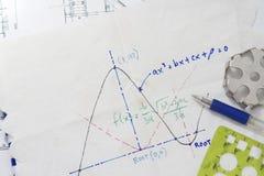 Gráfico de la función matemática fotos de archivo