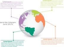 Gráfico de la información del globo del mapa del mundo para el concepto de la comunicación Fotografía de archivo