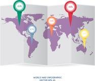Gráfico de la información del globo del mapa del mundo para el concepto de la comunicación Foto de archivo libre de regalías