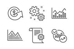 Gráfico de la inversión, cambio del Dólar y sistema de los iconos del trabajo Infochart, documentación técnica y muestras de las  libre illustration
