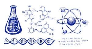 Gráfico de la mano de la química stock de ilustración