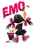 Gráfico de la muchacha del cabrito de Emo en la pared Fotos de archivo libres de regalías