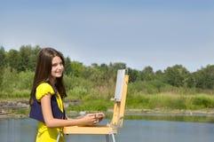 Gráfico de la muchacha en el aire abierto Imágenes de archivo libres de regalías