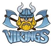 Gráfico de la muestra de Viking Warrior Mascot Crossed Axes ilustración del vector
