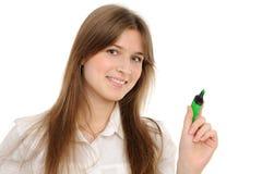 Gráfico de la mujer algo en la pantalla con una pluma Foto de archivo
