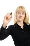 Gráfico de la mujer de negocios algo en la pantalla foto de archivo libre de regalías
