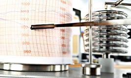Gráfico de la presión atmosférica, barógrafo Imagen de archivo