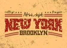 Gráfico de la tipografía de New York City Departamento atlético de Brooklyn ilustración del vector