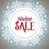 Gráfico de la venta del invierno con los copos de nieve Fotos de archivo libres de regalías