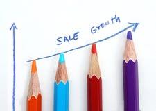Gráfico de la venta del negocio hecho por los lápices en el fondo blanco Fotografía de archivo libre de regalías