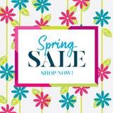 Gráfico de la venta de la primavera con las flores rosadas y azules Imagen de archivo