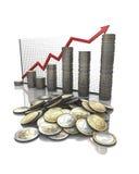 Gráfico de las estadísticas del dinero Imagenes de archivo