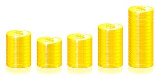 Gráfico de las monedas de oro Fotos de archivo libres de regalías