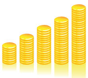 Gráfico de las monedas de oro Imagen de archivo libre de regalías