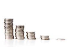 Gráfico de las monedas de plata Foto de archivo libre de regalías