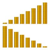 Gráfico de las pilas de oro de las monedas aisladas en blanco stock de ilustración