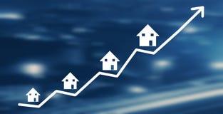 Gráfico de las propiedades inmobiliarias Crecimiento del mercado de la casa ilustración del vector