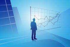 Gráfico de Looking At Finance del hombre de negocios de la silueta, hombre de negocios que analiza concepto de los resultados Foto de archivo libre de regalías