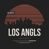 Gráfico de Los Ángeles, diseño de la camiseta, impresión de la camiseta, tipografía, embl Fotos de archivo