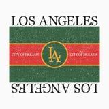 Gráfico de Los Ángeles para la camiseta de la moda con lema Impresión de la tipografía para la ropa y la camiseta del diseño Vect Fotografía de archivo