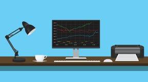Gráfico de los datos de los fondos mutuos en escritorio del monitor con la impresora de la lámpara Imagen de archivo