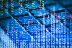 Gráfico de los datos del mercado de acción y financiero con el análisis común ind Imagen de archivo