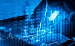 Gráfico de los datos del mercado de acción y financiero con el análisis común ind Foto de archivo