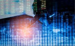 Gráfico de los datos del mercado de acción y financiero con el análisis común ind Foto de archivo libre de regalías