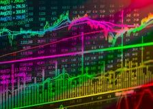 Gráfico de los datos del mercado de acción y financiero con la visión desde el concepto de la pantalla LED que conveniente para e Foto de archivo libre de regalías