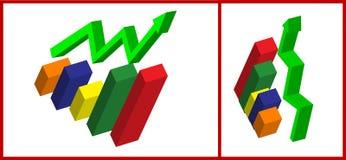 gráfico de negócio 3d Foto de Stock Royalty Free