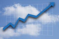 Gráfico de negócio azul que aponta acima Foto de Stock Royalty Free