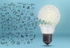 Gráfico de negócio com conceito da ampola para a ideia, inovação imagens de stock royalty free