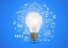 Gráfico de negócio com conceito iluminado da ampola para a ideia Imagens de Stock Royalty Free