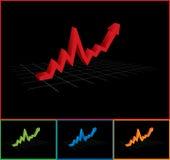 Gráfico de negócio com da seta preto acima - Foto de Stock Royalty Free
