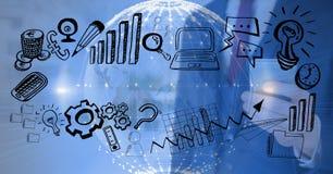 Gráfico de negócio com fundo tecnologico e terra 3D Foto de Stock Royalty Free