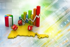Gráfico de negócio com mapa da Índia Fotografia de Stock Royalty Free