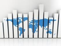 Gráfico de negócio com mapa do mundo azul Imagem de Stock Royalty Free