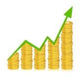 Gráfico de negócio com moedas ilustração royalty free