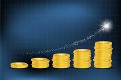 Gráfico de negócio com moedas do dólar ilustração stock