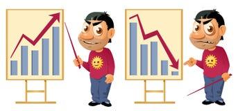 Gráfico de negócio Crescimento ou queda Homem engraçado dos desenhos animados que faz um prese Fotos de Stock Royalty Free