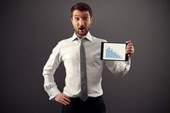 Gráfico de negócio da exibição do homem Foto de Stock