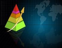 Gráfico de negócio da pirâmide com mapa de mundo Foto de Stock