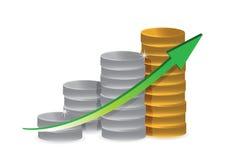 Gráfico de negócio das moedas da prata e de ouro Foto de Stock