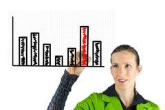 Gráfico de negócio do desenho da mulher de negócio imagens de stock royalty free