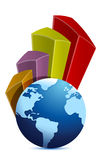 Gráfico de negócio do globo e da curva Fotografia de Stock