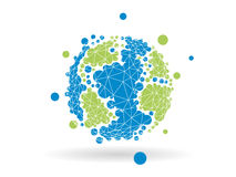 Gráfico de negócio geométrico pontilhado colorido da esfera do globo da terra isolado no fundo branco claro Fotos de Stock Royalty Free