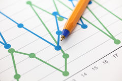 Gráfico de negócio (gráfico linear) fotografia de stock royalty free