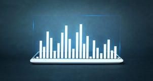 Gráfico de negócio na tabuleta digital Imagens de Stock Royalty Free